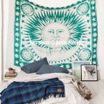 Green Multi Good Morning Sun Moon Cotton Tapestry Wall Hanging