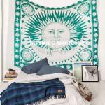 Green Multi Good Morning Sun Moon Cotton Tapestry Wall Hanging