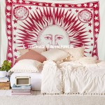Maroon and White Sun Moon Planet Star Fringed Tapestry Bedspread