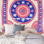 Blue Sun Moon Star Medallion Circle Tapestry, Fringed Bedspread