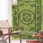Green Boho Elephant Trap Circle Mandala Tapestry, Tie Dye Bed Cover