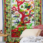 White Tree of Life Tapestry Wall Hanging, Hippie Cotton Bedspread