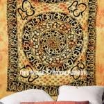 Large Yellow Tie Dye Hindu OM Chakra Fringed Tapestry, Tie Dye Bedding