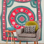 Red & Green Sun Moon and Stars Mandala Tapestry, Fringed Bedding