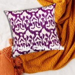 "16"" Inch Purple Zigzag India Decorative Ikat Kantha Toss Pillow Sham"