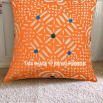 "16"" Orange Needle & Hand Applique Cut Work Cotton Toss Pillow Case"