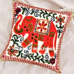 "16"" Elephant Embroidery Woven Accent Outdoor Indian Throw Pillow Sham"
