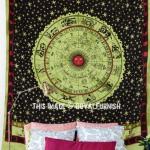 Green Hindu Astrology Horoscope Zodiac Bohemian Hippie Tapestry Wall Hanging