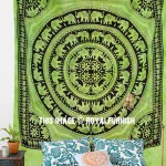 Big Green Elephant Mandala Wall Tapestry, Tie Dye Fringed Indian Bedding