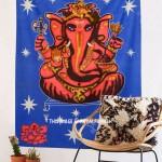 Blue Batik Ganesha Wall Hanging Tapestry