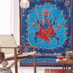 Twin Gray Batik Ganesha Tapestry Wall Hanging