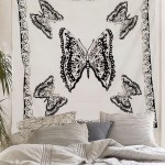 White & Black Butterfly Wall Tapestry, Indian Hippie Tapestry Bedding