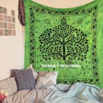 Green Elephant Tree Good Luck Tapestry Wall Hanging Bedding