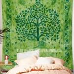 Green Multi Elephant & Tree Fringed Tie Dye Wall Tapestry Bedding