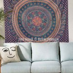 Royal Blue Birds and Elephants Bohemian Mandala Wall Tapestry, Hippie Indian Bedding