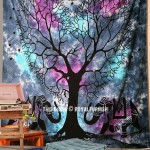 Blue Two Elephants with Love Tree Wall Tapestry