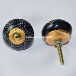 Set of 2 Black Hand Painted Ceramic Knobs