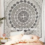 Psychedelic White & Black Elephant Mandala Tapestry, Sun Moon Fringed Tapestry