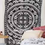 Black and White Fringed Elephant Mandala Tapestry Indian Bohemian Bedding