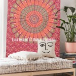 Small Red Boho Mandala Tapestry Wall Hanging, Indian Hippie Bedspread