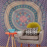 Large Blue Animal Birds Bohemian Mandala Wall Tapestry, Wall Hanging Bedding Bedspread