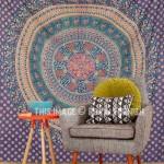 Large Blue Animal Birds Bohemian Mandala Wall Tapestry, Wall Hanging Bedding Bedspread