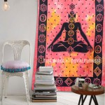 Colorful Red Tie Dye Meditation Yoga Tapestry, Wall Hanging Bedding