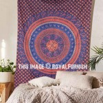 Small Blue Bohemian Throw Tapestry, Indian Wall Hanging Bedding Hippie Bedspread