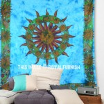 Turquoise Blue Tie Dye Sun Tapestry Wall Hanging