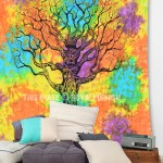 Hippie Tree of Life Tapestry Wall Hanging, Tie Dye Bedding Sheet