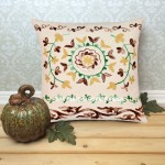 "16"" Inch White Embroidered Suzani Square Toss Pillow Cover"