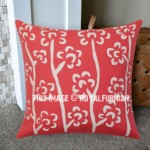 16X16 Inch Red Accent Handcraft Applique Tree Pillow Sham