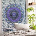 Small Blue Indian Psychedelic Hippie Boho Mandala Throw Tapestry Wall Hanging