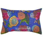 """71""""X45"""" Blue Outdoor/Indoor Indian Boho Chic Style Floral Kantha Throw Pillow Sham"""