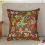 "16""X16"" Brown Birds Printed Hand Stitched Indian Kantha Throw Pillow Cover"