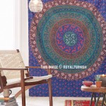 Dark Blue Hippie Medallion Mandala Cotton Tapestry Wall Hanging Bedspread