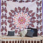 Purple Multicolor Butterfly Wall Decor Mandala Tapestry Wall Hanging Bedspread