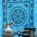 Turquoise Herd of Elephants Mandala Tapestry Bedding