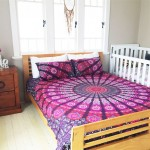Pink Purple Classic Peafowl Mandala Duvet Cover with Set of 2 Pillow Covers