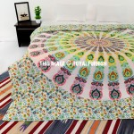 Yellow & White Peafowl Mandala Duvet Cover