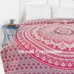 Pink Floral Mandala Circle Ombre Duvet Cover