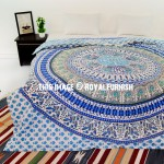White Blue Birds and Elephant Circle Bohemian Mandala Duvet Cover