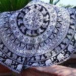 Black and White Elephants Mandala Roundie, Beach Round Towel
