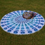 White & Blue Pom Pom Goddess Mandala Roundie Beach Towel