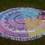 Multi Patchwork Ombre Theme Mandala Roundie Beach Towel, Round Towel