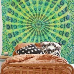 Green Multi Tie Dye Mandala Throw, Hippie Mandala Tapestry