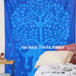 Blue Tie Dye Elephant Tree Wall Tapestry, Indian Twin Bed Cover