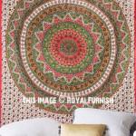 Red Bohemian Star Kerala Mandala Wall Tapestry, Hippie Bedspread