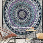 Multi Beige Floral and Elephant Medallion Mandala Wall Tapestry Bedspread