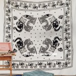 Four Elephants White and Black Fringed Wall Tapestry, Indian Bedding